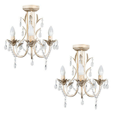 2 x Vintage Style Traditional 3 Way Ceiling Light Chandeliers Distressed White