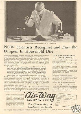 vintage AIR-WAY Sanitary System ELECTRIC Appliance Vacuum Cleaner SCIENTIST Ad