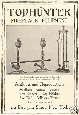 1920s antique TODHUNTER Fireplace BRASS ANDIRONS Fire Tool Equipment DECOR AD