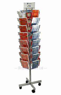 Greeting Card Stand Floor Rotating with 40 Pockets in Silver A5 (J15)