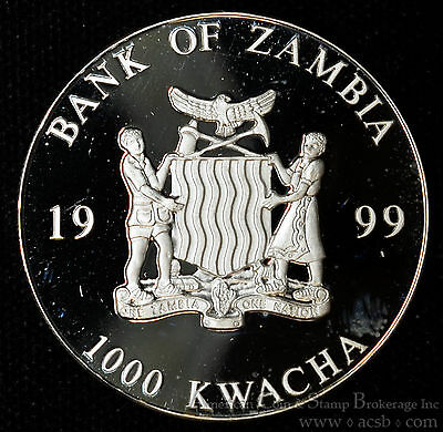 Zambia 1000 Kwacha 1999 Superb Gem Proof European Unity One Currency 20 Euro Rev