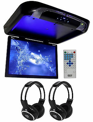 "TVIEW 20"" Black Flip Down Car Monitor DVD/CD Player With 2 Wireless Headphones"