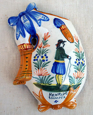 Henriot Quimper Bagpipe Wall Pocket Vase Little Breton 1920 French Faience