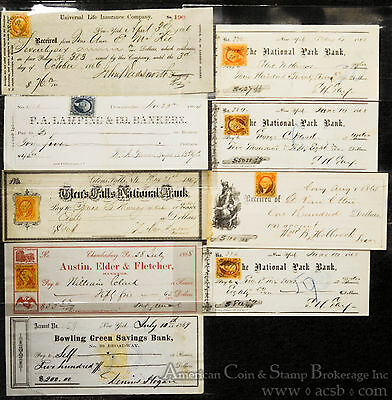 Obsolete Bank Check Lot of 9 Civil War Period New York NY Pennsylvania PA.