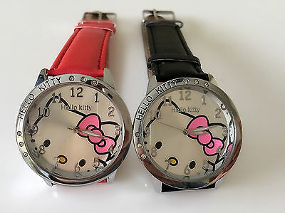 1P Lady Children Kid School Girls Hello Kitty Crystal Wrist Watch Birthday Gift