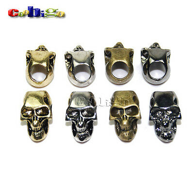Single Vertical Hole Charm Metal Skull For Paracord Knife Lanyards