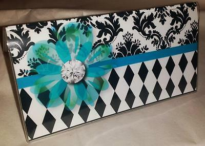 Checkbook Cover Diamonds Damask Turquoise Flower Makes a Great Gift