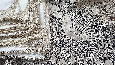 All Lace  POINT DE VENISE Tablecloth w 12 Fantasy Fish & Acorns, 12 Napkins