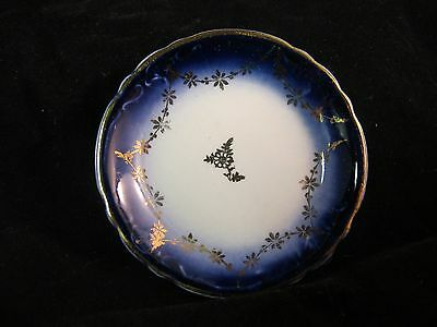 "FLOW BLUE 3.25"" LA FRANCAISE BUTTER PAT BY STERLING POTTERY USA 1916 MINT"