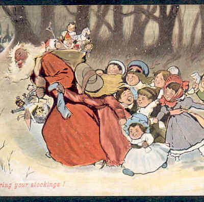 RARE.! NEGRO,BLACK SANTA CHASED BY KIDS WITH STOCKINGS,FATHER CHRISTMAS POSTCARD