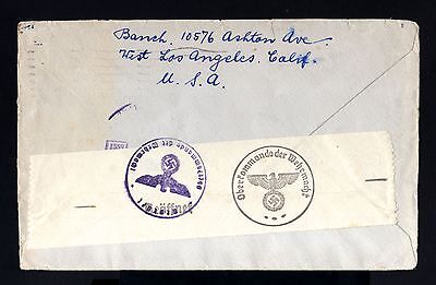 299-USA-MILITARY NAZI CENSOR CLIPPER COVER CALIFORNI.to BREMEN(germany)1940.WWII