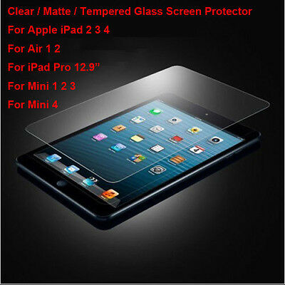 Tempered Glass/Clear/Matte Film Screen Protector For iPad Mini 2 3 4 Air Pro Lot