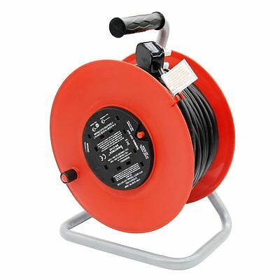 25 Metre Cable Reel 13A Freestanding 4 X Gang Sockets Extension Lead