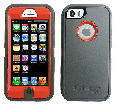 OEM Otterbox Defender Series Case for iPhone 5 / 5S Charcoal Grey Gray / Orange