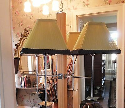 Mid Century Hanging Chandelier THOMAS IND. 4 Lights w/Shades - Wood & Stainless