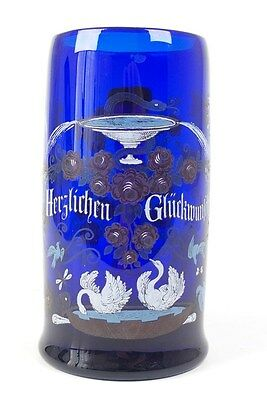 AWESOME MOUTH BLOWN GLASS STEIN GERMAN ANTIQUE 1880´s - # 1