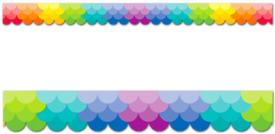 Painted Palette Ombre Rainbow Scallops Border - Classroom Display Border