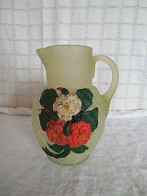 Frosted green glass pitcher w/applied flowers New Martinsville?
