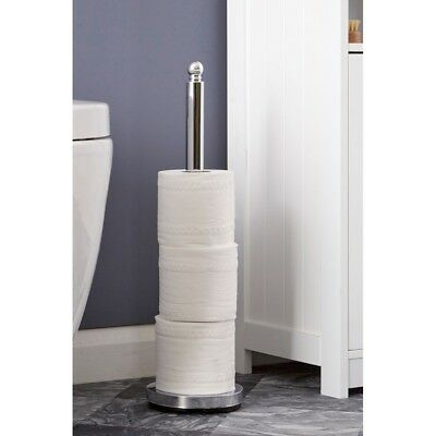 Chrome Toilet Roll Holder Free Standing Bathroom Paper Towels Tissue Storage