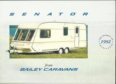 Bailey Senator 4000, 5000, 7000 And 8000 Caravan Sales Brochure 1992