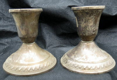 Antique Vintage Sterling Silver 925 Pair  Candle Holders Duchin  10.06oz.
