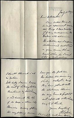 1872 ANTHONEY SALVIN Famous Architect A/L 3 pages from his home HAWKSFOLD Surrey