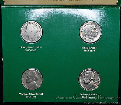 5c Five Cents Jefferson Liberty Buffalo War V 4 coin set American 20th Century.