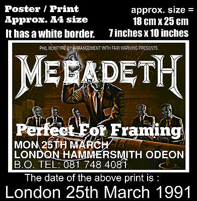 Megadeth live concert Hammersmith London 25th of March 1991 A4 size poster print