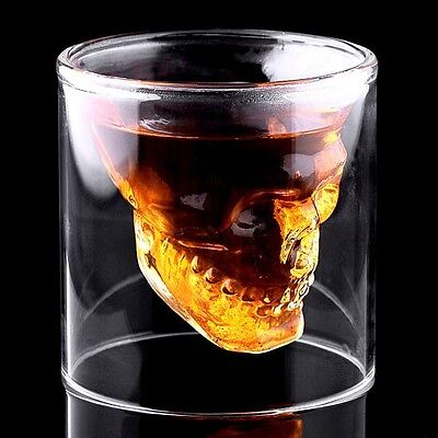 Fashion Funny Skull Head Shot Glass Whiskey/Vodka/Beer Crystal Drinking Cup IFA