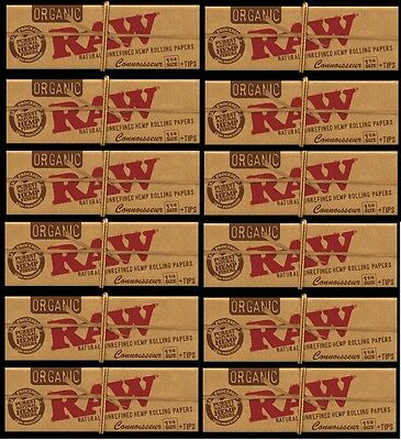 12 PACKS RAW 1 1/4 size CONNOISSEUR ORGANIC Hemp Rolling Papers with Tips vegan