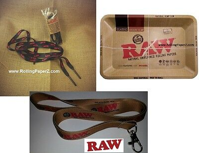 RAW rolling papers SHOE LACES with POKER TIPS + LANYARD + 5x7 MINI METAL TRAY