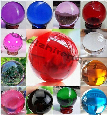 HOT~Wholesale 35-40MM + Stand Magic Asian Ball Natural Crystal Sphere 15 Colors