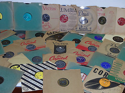 """Great Lot of (12) 78 RPM 10"""" Records in SLEEVES RESALE WHOLESALE random 20's-60s"""