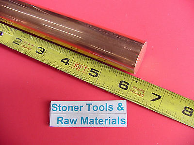 "1"" C110 COPPER ROUND ROD 6"" long H04 Solid CU New Lathe Bar Stock"
