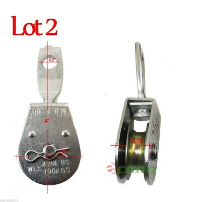 2Pc Steel Swivel Eye Pulley  Lifting Boat 420Lbs