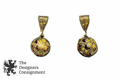 Excellent Vintage Brass Enameled Clip On Earrings Filigree Round Ball Dangle Ear