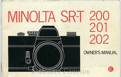 Minolta SR-T 200 201 & 202 Instruction Book, More Camera Manauls & Guides Listed