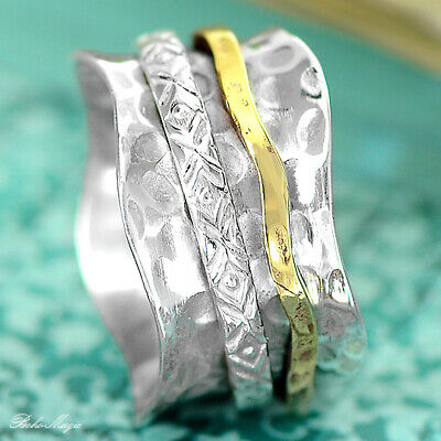 Solid 925 Sterling Silver Spinner Ring 2 Tone Swirls Spinning Wide Band New