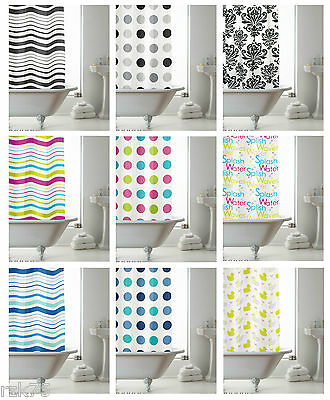 Modern Bathroom Shower Curtain with Ring Hooks 180 x 180 cm Stripe Spots