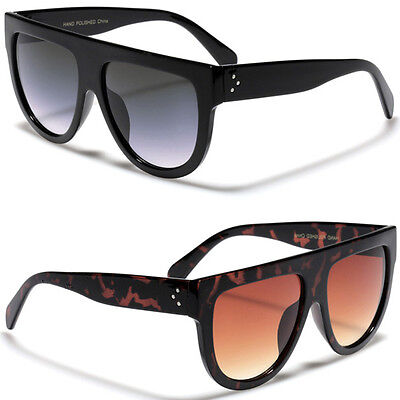 Futuristic Oversized Flat Top Super Sunglasses Retro Vintage Men Women Glasses