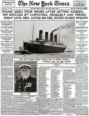 Titanic - Giornale Del 16/04/1912 -The New York Times - Poster