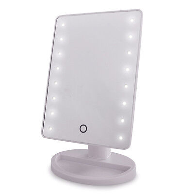Modern Battery Operated White LED Touch Vanity Cosmetic Bathroom Make Up Mirror