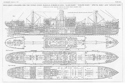 1910 4x Old Engineering Prints- Steamers for the Nippon Yusen Kaisha's Euro Line