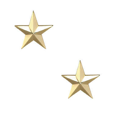 Gold Star Army Military Police General Collar Uniform Brass Pins Insignia 3/4""