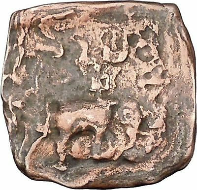 AZILISES 85BC INDO SKYTHIAN King on Horse Bull Ancient Greek Coin India i47125