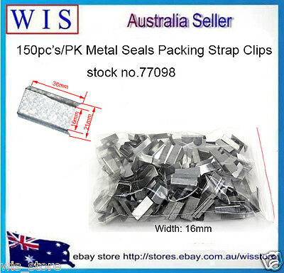 150 x Metal Seals Packing Strap Clips Buckle for Steel Strapping,16mm(W)-77098