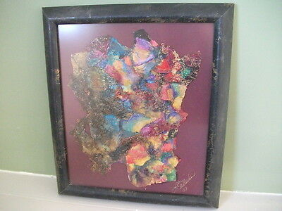 """Modern Abstract Textile Art-about 14.5""""x16.5""""-signed, black/gold marbled frame"""