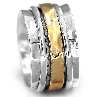 Solid 925 Sterling Silver Spinner Ring Two Tone Wide Band Men's Women's 6 7 8 9
