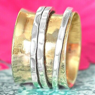 Sterling Silver 925 Spinning Ring Meditation Spin Spinner Spiral Chic New Co1