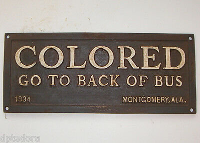Colored Go To Back Of Bus - Black Americana Cast Iron Plaque